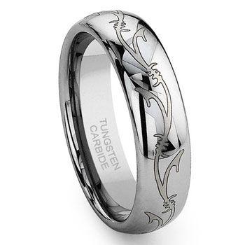 tungsten carbide laser engraved vine celtic irish wedding band ring - Elvish Wedding Rings