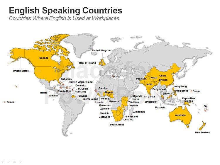 World map countries on english used at workplaces powerpoint slides explore country maps world maps and more gumiabroncs Images