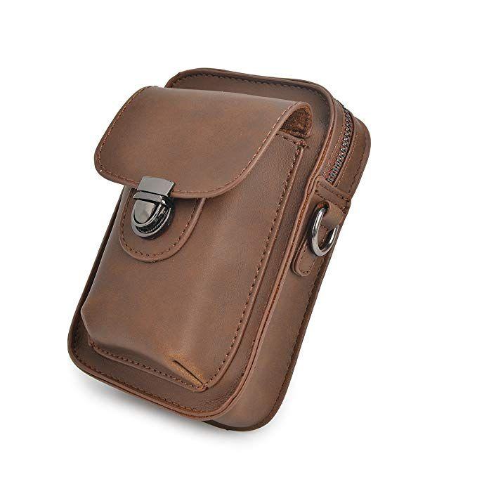 f8340857e8ed Mens PU Leather Waist Bag Messenger Shoulder Satchel Small Hook ...