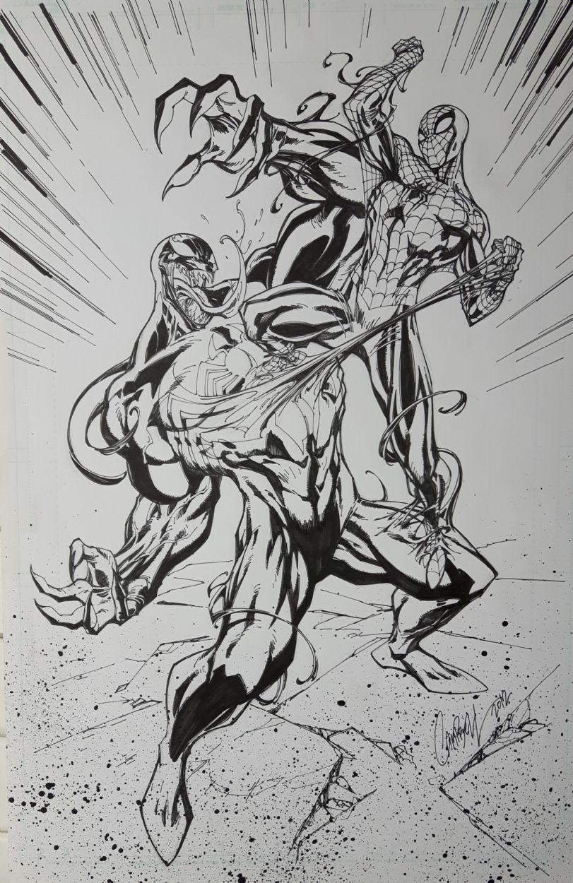 J Scott Campbell Spider-man Vs Venom Cover Comic Art | VENOM | Pinterest