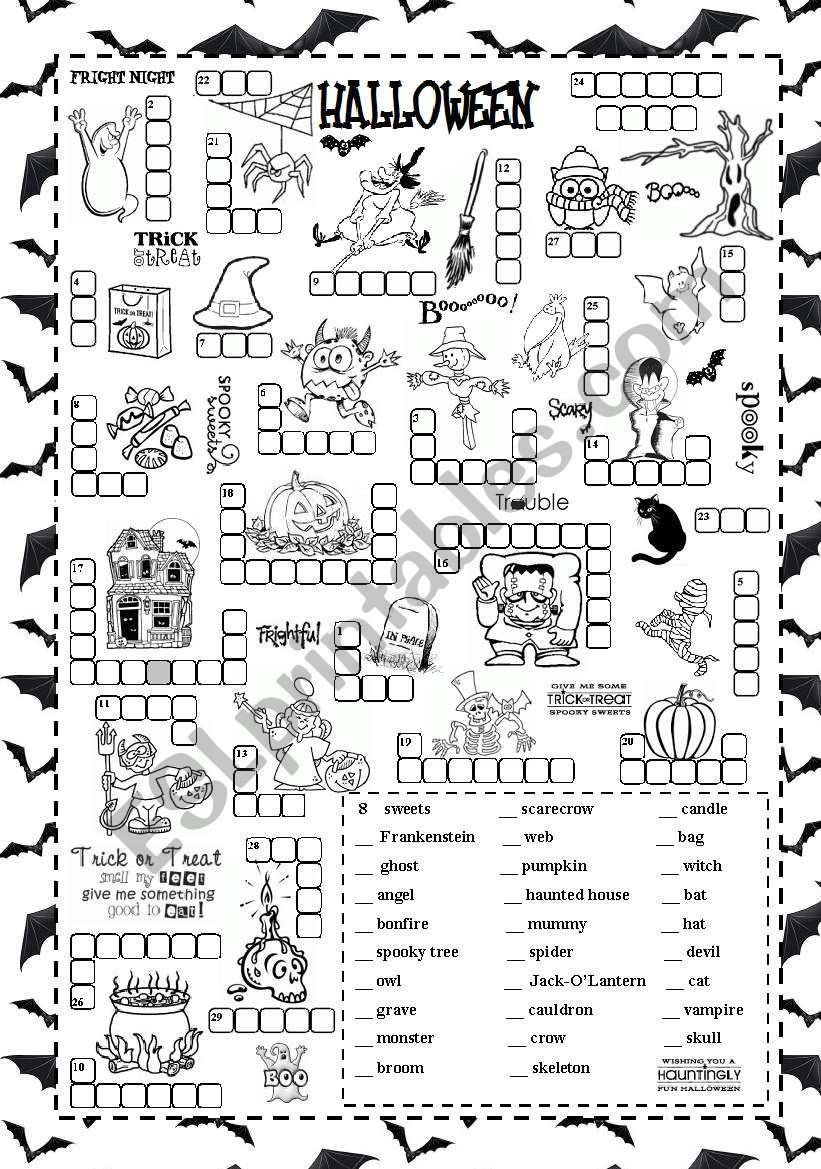 Halloween Worksheets Pdf Free Halloween Esl Worksheet By Silvanija In 2020 Halloween Words Halloween Worksheets Halloween Activities For Kids