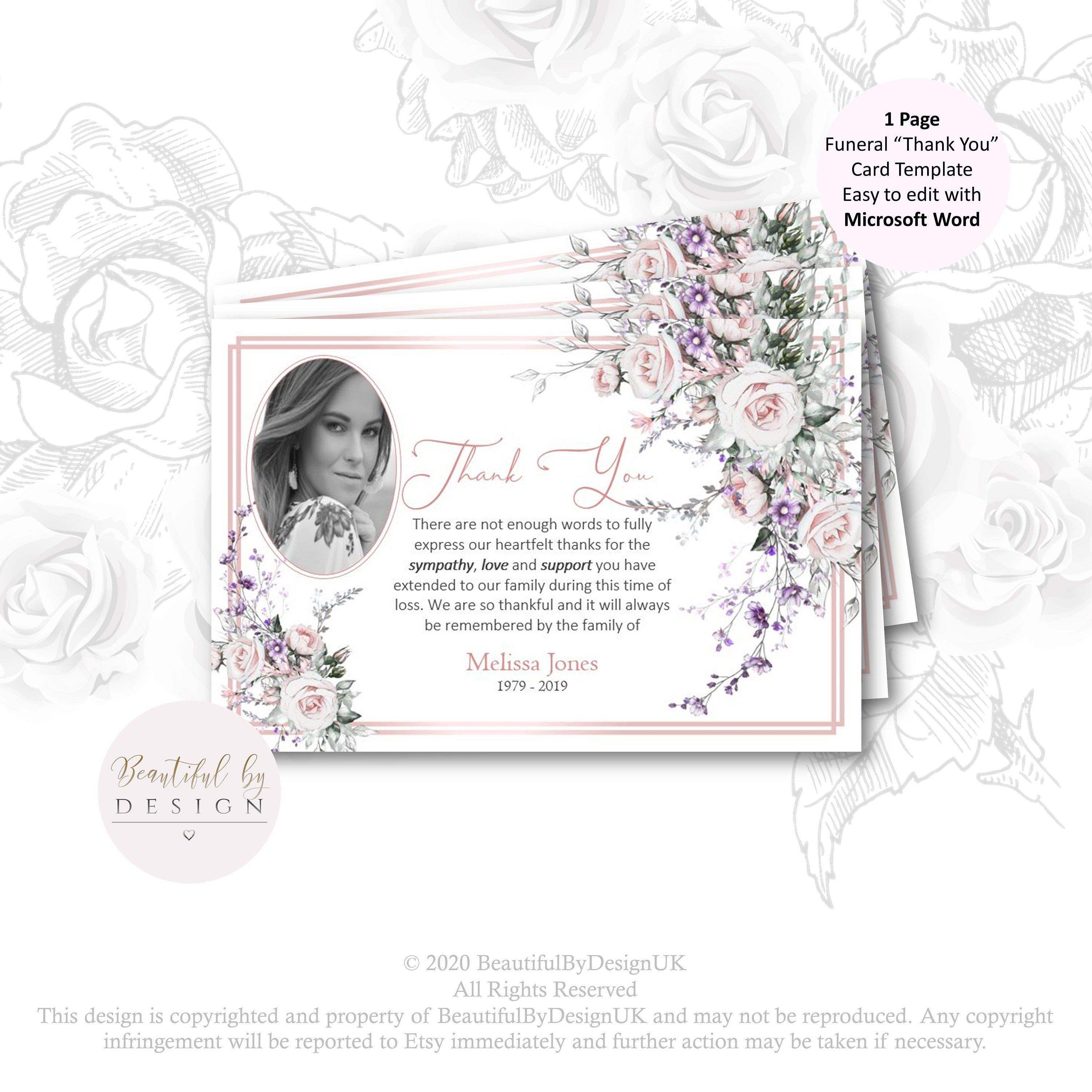 Watercolour Flowers Funeral Thank You Card With Photo In Loving
