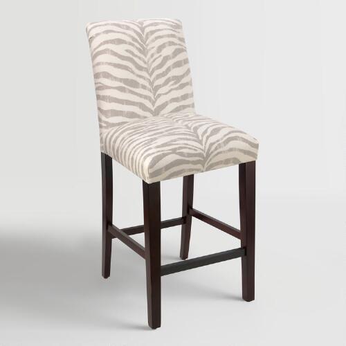 Tropo Cloud Zebra Stripe Kerri Upholstered Barstool