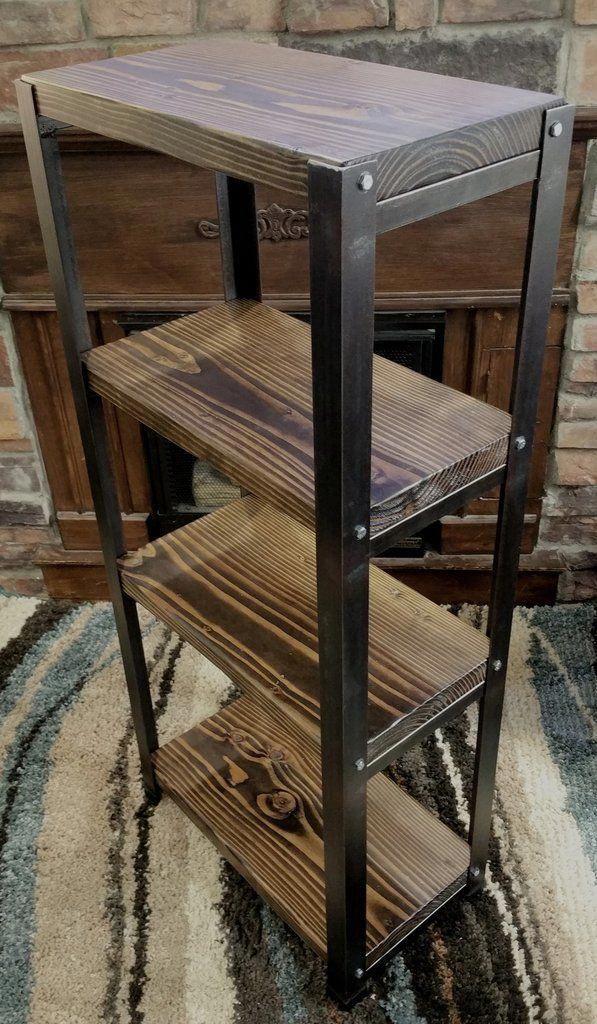 Industrial Rustic Shelf Wood And Steel Loft Log Cabin The Art