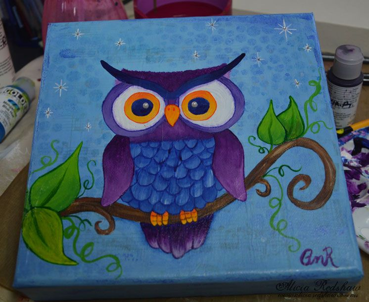 Owl Canvas By Alicia Redshaw Owl Canvas Painting Owl Canvas Art Owl Canvas