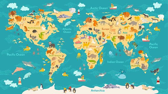 Animals world map digital vector file eps10 wall decor background animals world map digital vector file eps10 wall decor background vector illustration drawn digital file vector file gumiabroncs Gallery