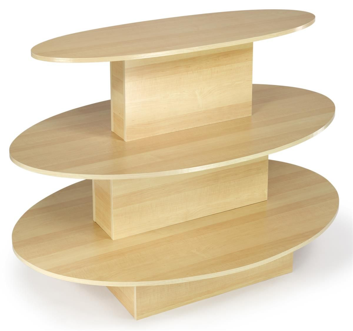 Tiered Display Table W 3 Shelves Oval Maple Display Furniture Store Displays Wood Display