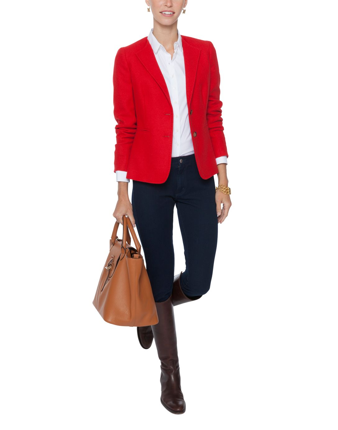 """Jack and tote add polish to the biz casual look; jacket in red """"powers up"""" her presence. www.smartwomenonthego.com"""