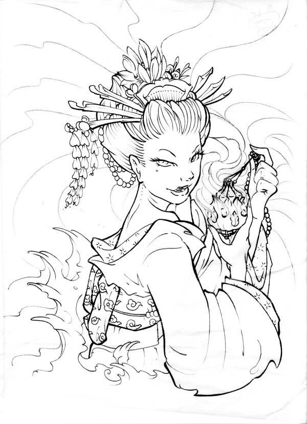 图集】神话人物白描画谱(梁启德)-第1页  Japanese drawings, Japanese ...   827x600