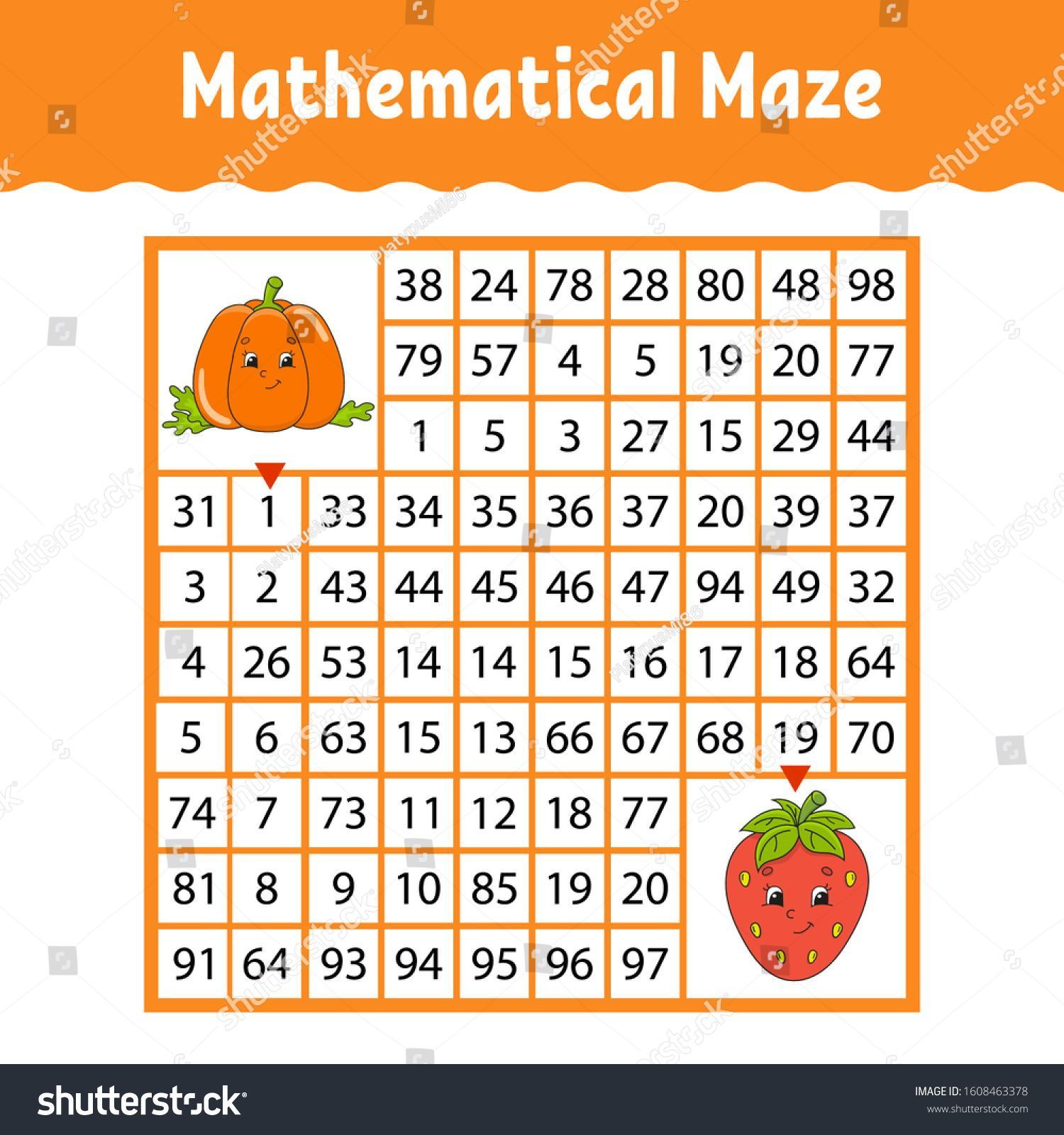 Vegetable pumpkin strawberry Mathematical square maze Game for kids Number labyrinth Education worksheet Activity page Puzzle for children Cartoon characters Color vect f...