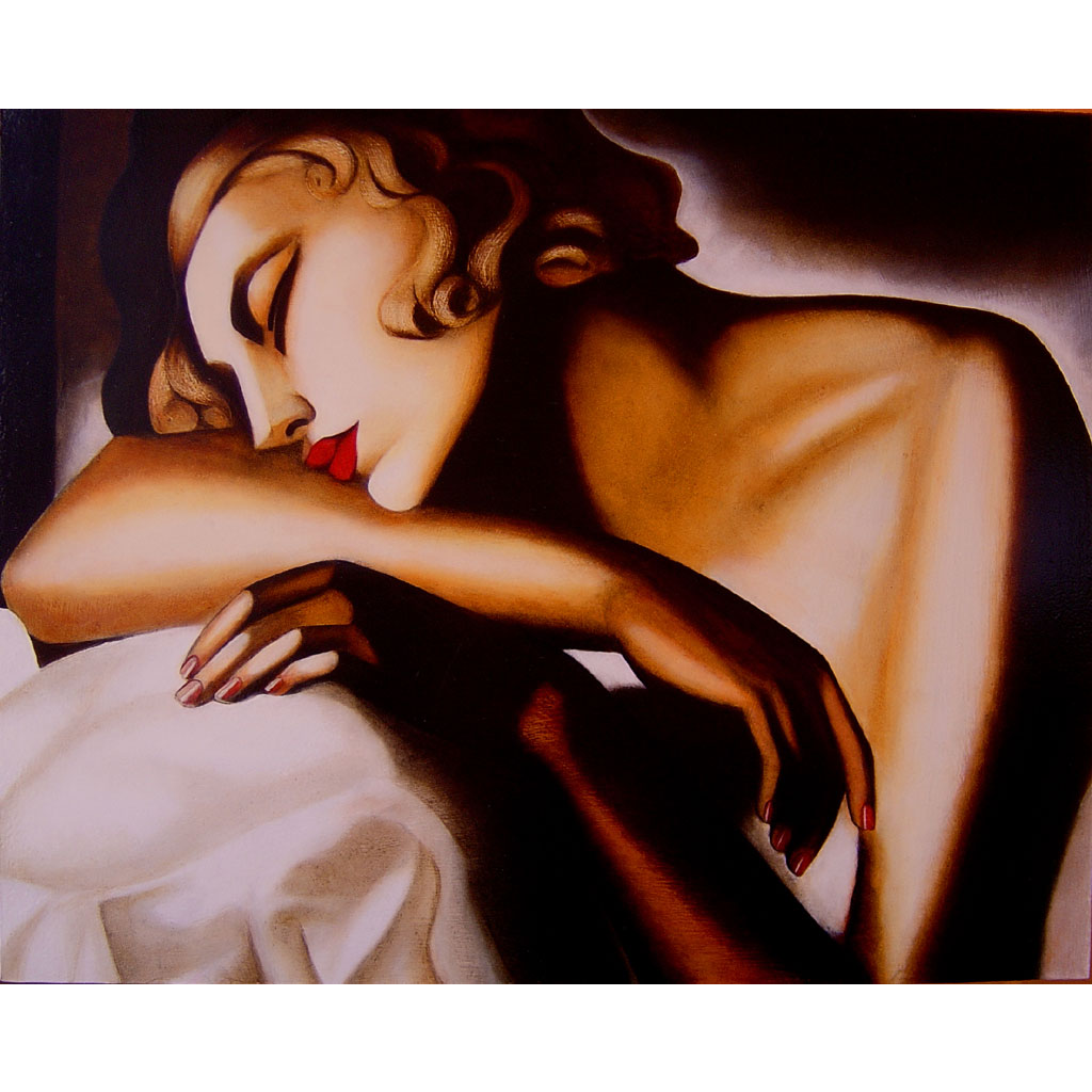 I love Tamara De Lempicka's work! The rigidity of Cubism comes through quite strongly, yet the lighting and forms are soft and feminine. So divine! (^^,). This one is titled 'La Dormeuse' or 'The Sleeper' (1932)