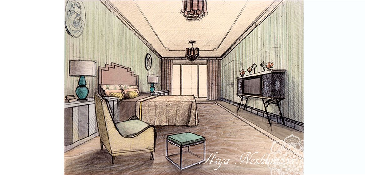 Interior Sketch Rendering Colored Pencils Drawing By