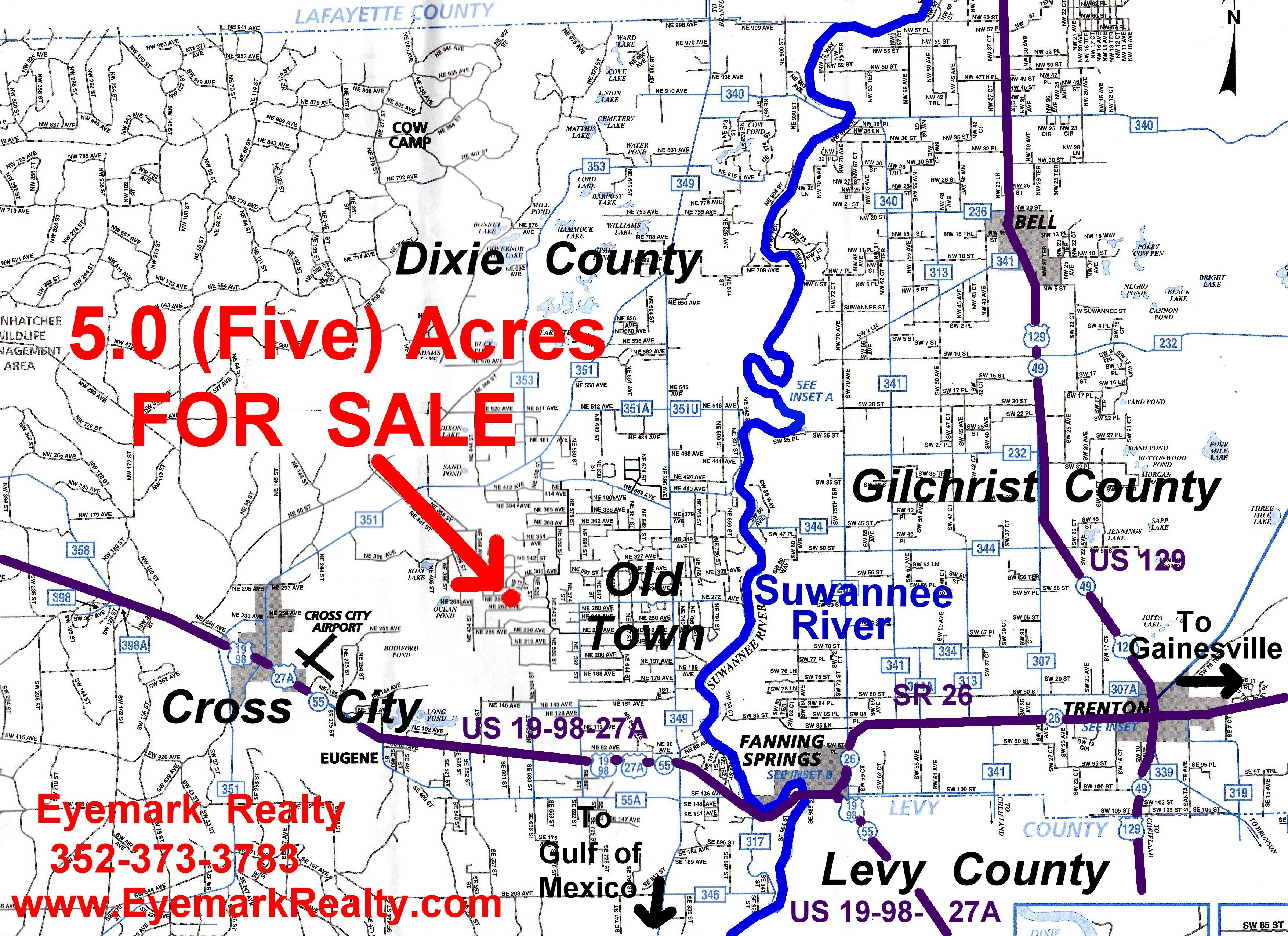 Old Town Florida Map.5 Five Acres For Sale Old Town Fl 32680 Dixie County Florida