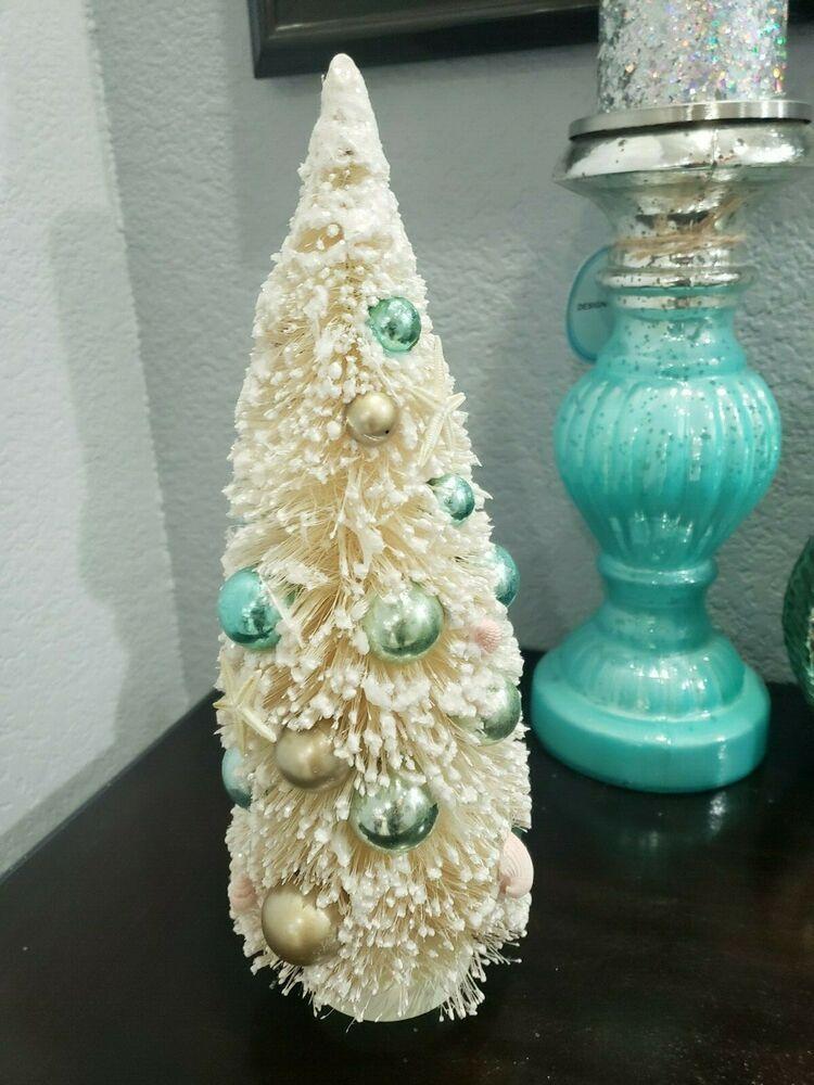 Coastal Nautical Bottle Brush Christmas Trees Starfish Seashells 12 Ebay Bottle Brush Christmas Trees Coastal Christmas Decor Nautical Bottle