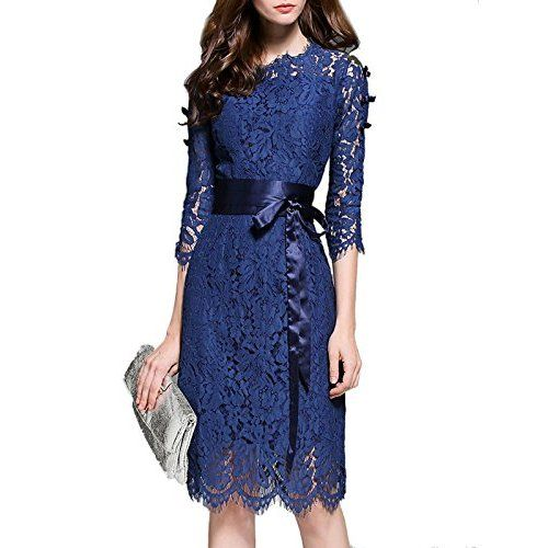 Ivanka Trump Womens Ruffle Sleeved Lace Dress Sea Blue 2