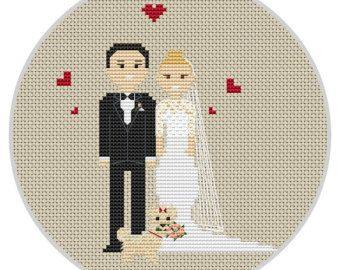 Custom Cross Stitch Wedding Portrait PDF Pattern Wedding gift
