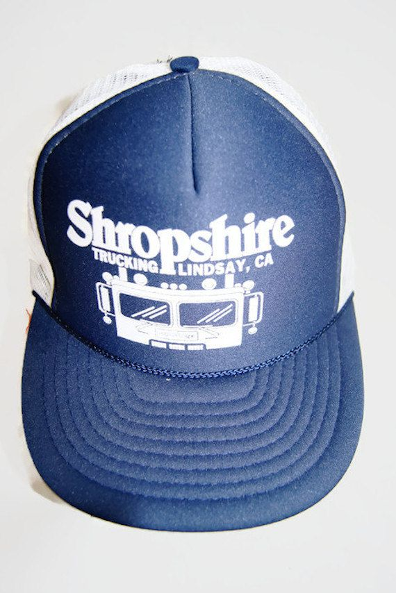Vintage Shropshire Trucking Lindsay CA Blue Hat   Adjustable Trucker Cap by  Nissin Cap New Old Stock (NOS) Deadstock by ANTIGOs on Etsy 0299ca00f73c