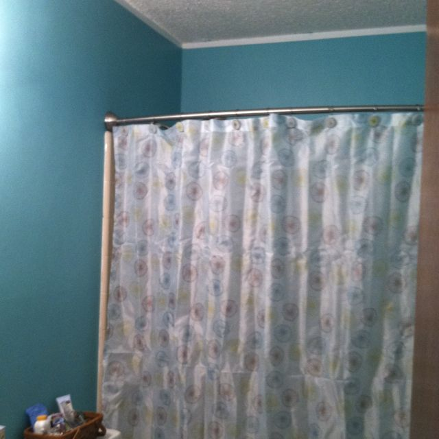 new bathroom color bermuda bay by glidden and new shower curtain
