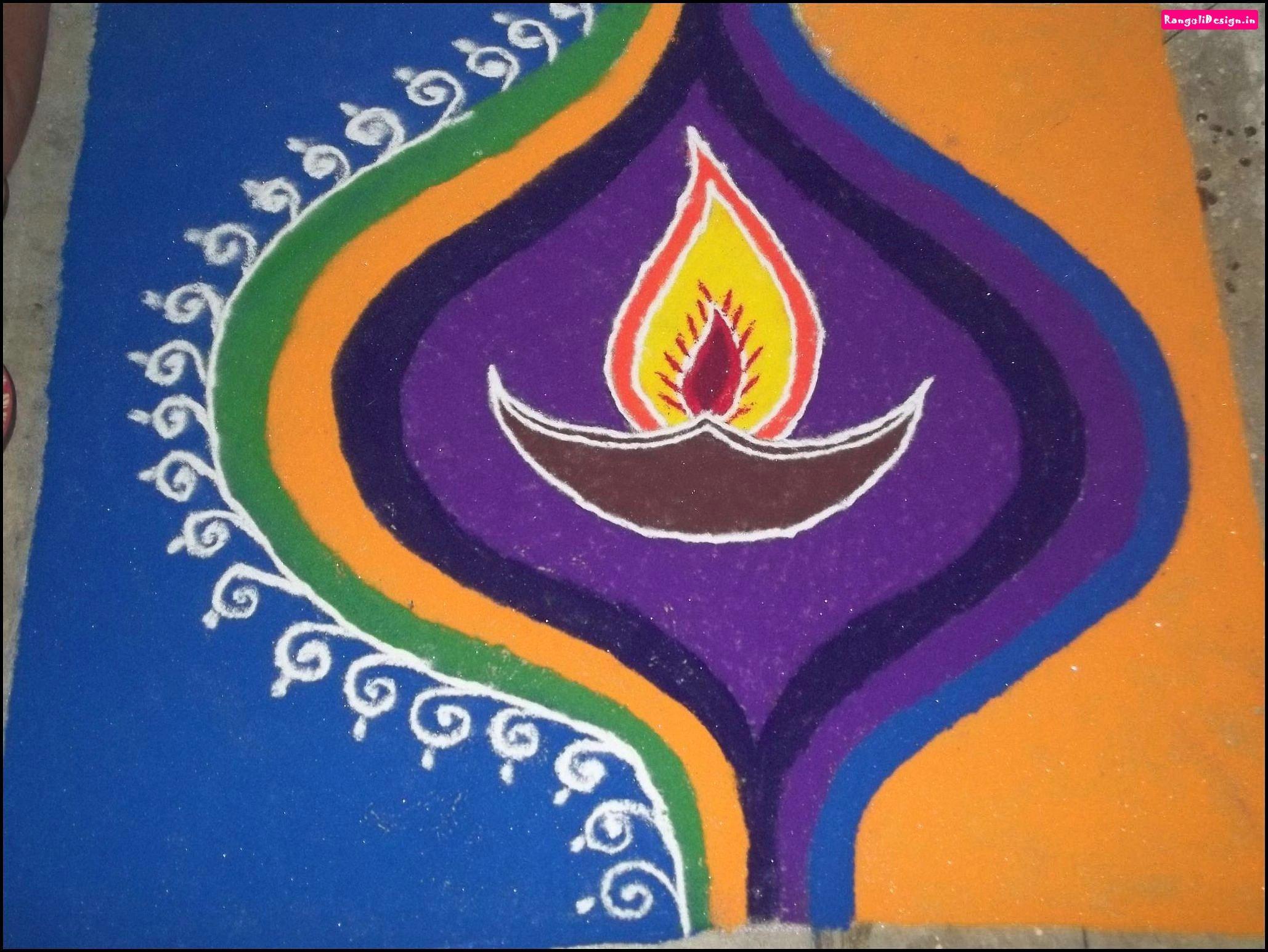 Easy Diya rangoli designs #rangolidesigns | Rangoli | Pinterest ... for rangoli designs for diwali with diya  45gtk