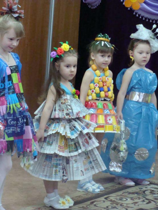 Платья и детские костюмы из бросового материала