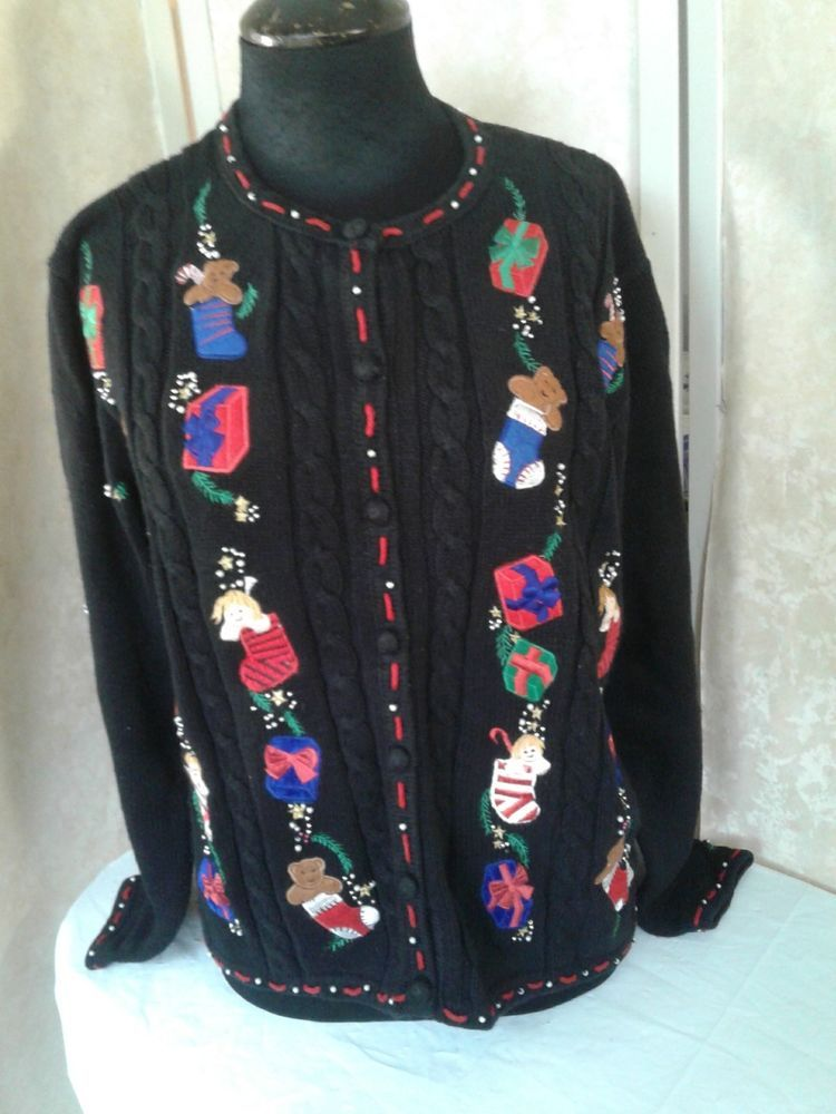 Christmas Beaded Black Button Up Holiday Party Ugly Sweater Xl