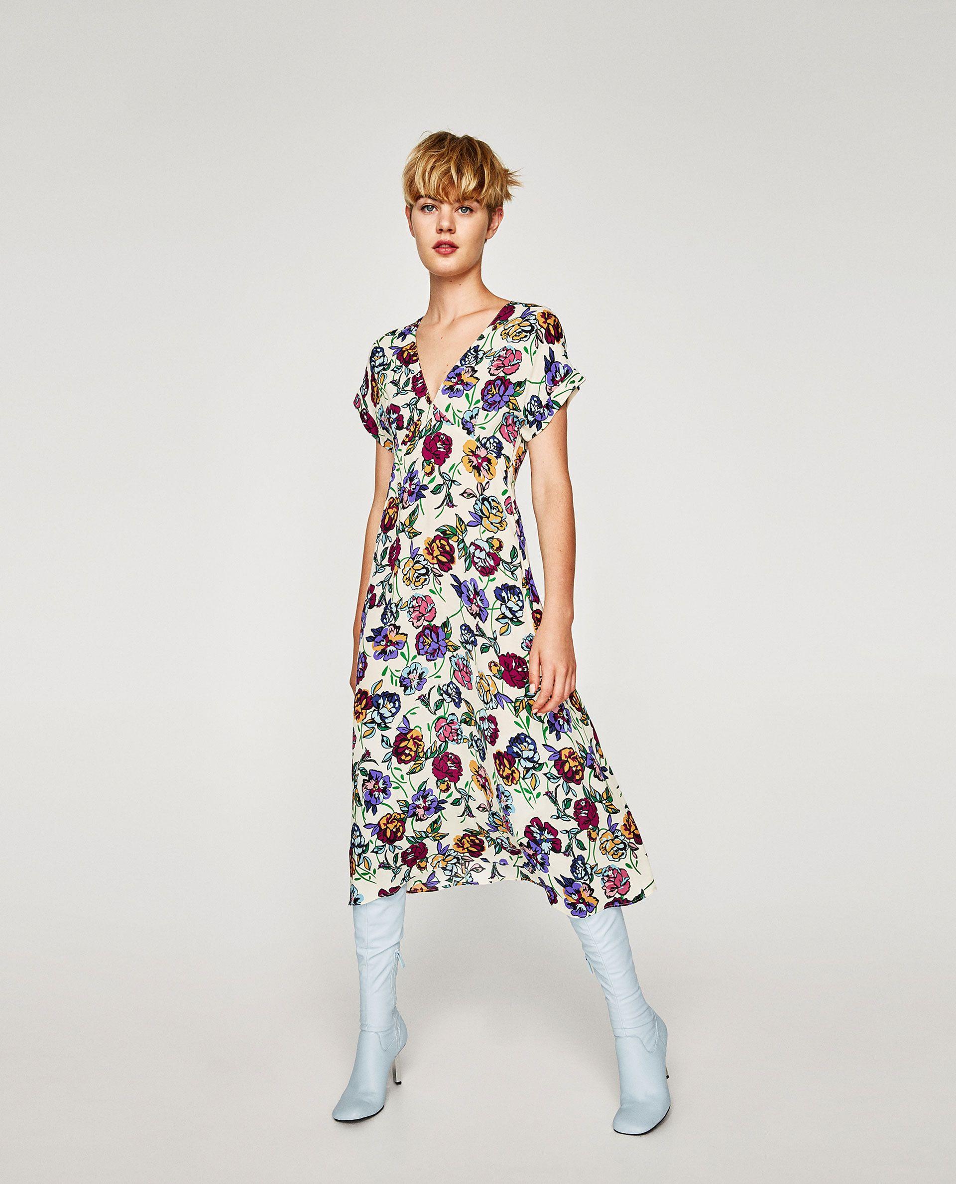 Vestido Midi Flores En 2019 Vestidos Vestidos Cortos Y