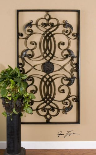 Large Oversized Tuscan French Metal Iron Scroll Wall Décor Grille ...