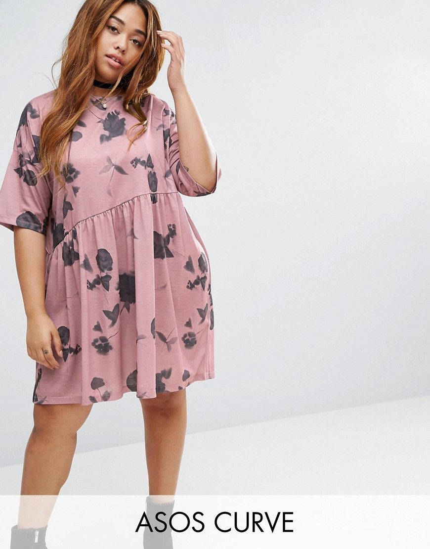 95824fe4ed ASOS CURVE Smock Dress in Winter Shadow Print - Multi. Plus-size dress by  ASOS CURVE, Soft-touch jersey, Round neck, Short sleeves, Softy-pleated  skirt, ...
