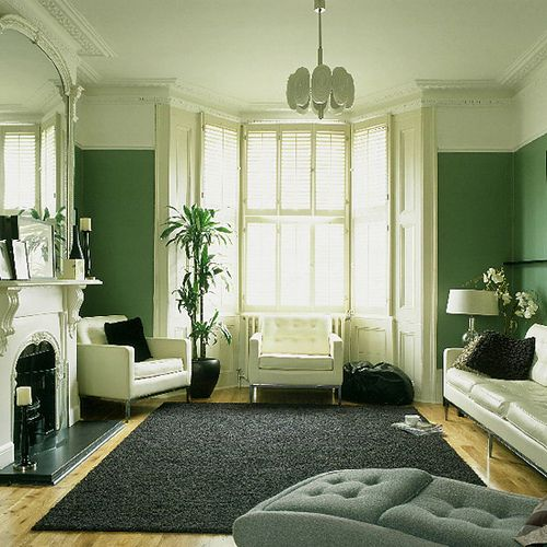 Green Living Room Monochrome Palette White Accents