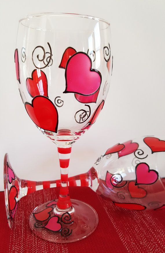 Hand Painted Heart Wine Glasses Hand Painted And Sold As A Set Of 2