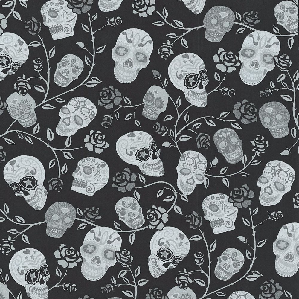 rose floral trail black and silver skulls wallpaper paste the wall