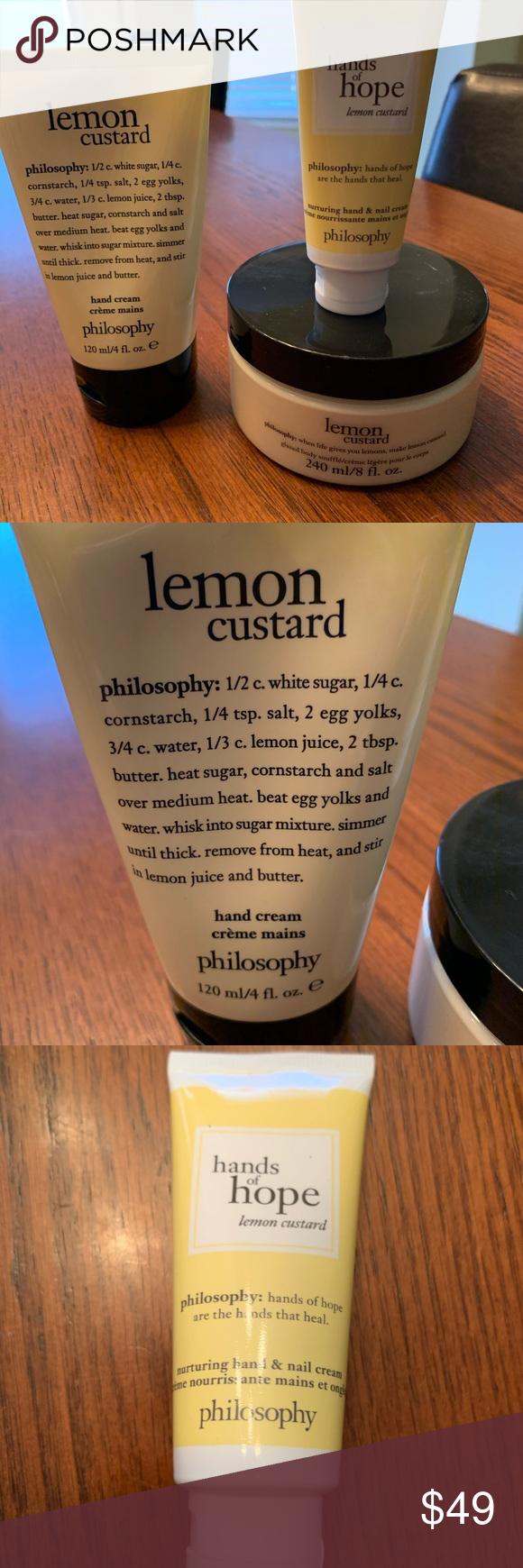 Philosophy Lemon Custard Bundle One Lemon Custard Handcream For Ounces One Lemon Custard Glazed Body Souffle Cream 8 Ounces Hands O Lemon Custard Custard Lemon