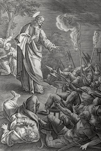 Phillip Medhurst presents John's Gospel: Bowyer Bible print 5519 Judas betrays Jesus John 18:3-6 De Vos on Flickr. A print from the Bowyer Bible, a grangerised copy of Macklin's Bible in Bolton Museum and Archives, England.