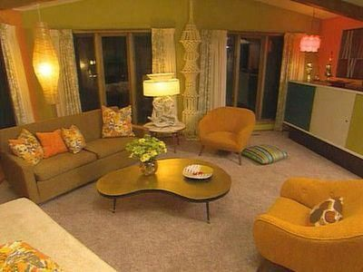 70 S Blend Of Yellow Oranges And Green Retro Living Rooms