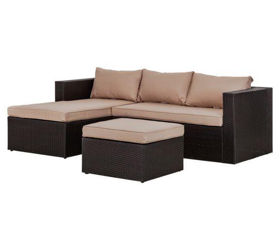 Buy Rattan Effect 3 Seater Mini Corner Sofa - Black at Argos.co.uk