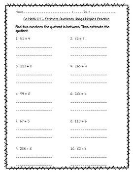 Go Math Practice - 4.1 - Estimate Quotients Using Multiples ...