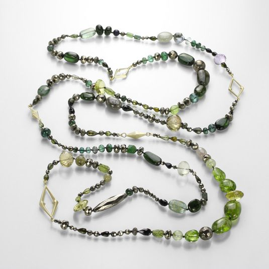 Green/Gold Story Necklace by Gabriella Kiss @QUADRUM