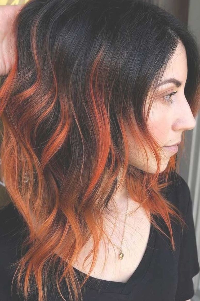 Fiery Orange Highlights Brunette Highlights Redhair Do You Know How Awesomely You Can Pull Off Black Hair Dark Orange Hair Red Hair Tips Hair Highlights