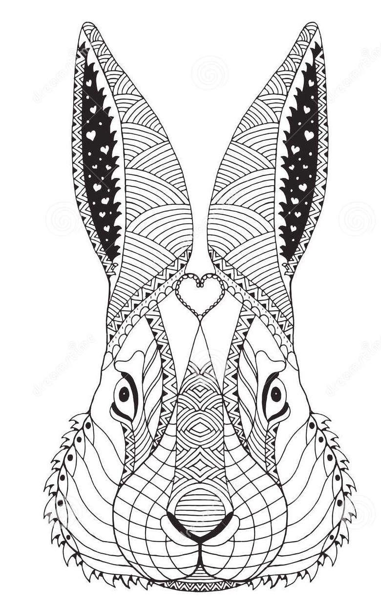 Zentangle Face Of Rabbit Art Coloring Sheet In 2020 Rabbit Art Animal Coloring Pages Zentangle