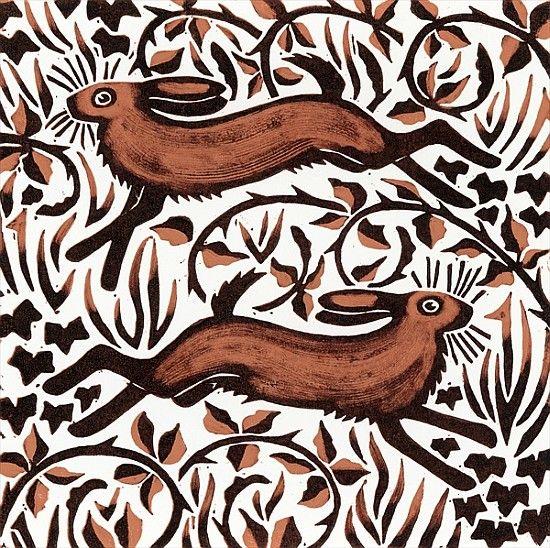 Nat Morley-Bramble Hares, 2001 (woodcut)