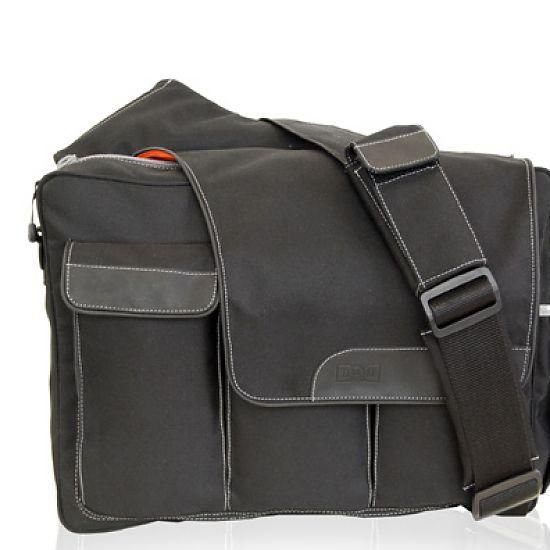 Diaper Dude Black DD Flap Messenger II Diaper Bag Zoom Price: $96 #blissliving #giftsfordad #newdad