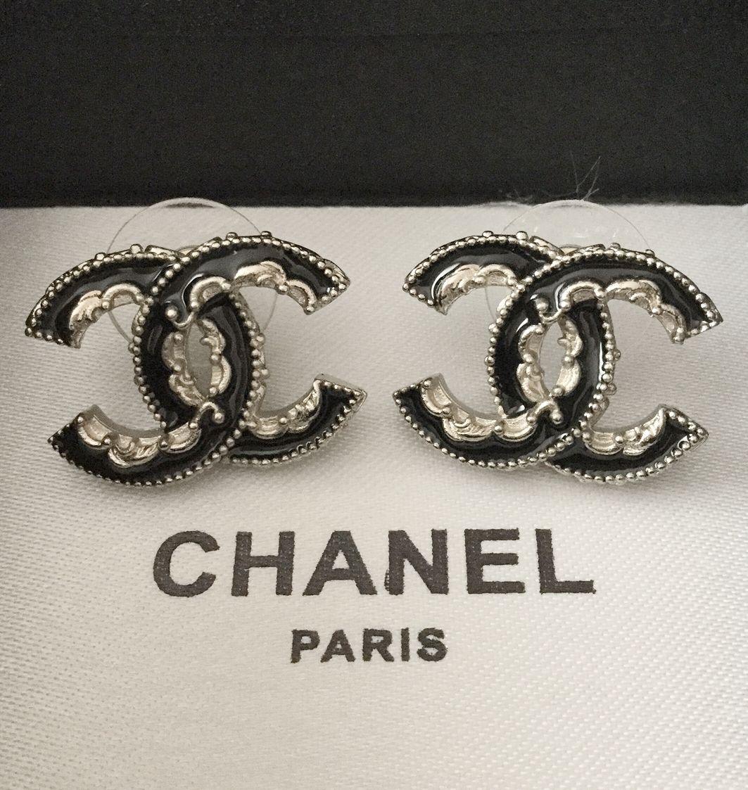 Chanel Black Gold Lace Stud Earrings Enamel Cc Classic Authentic Mostwanted