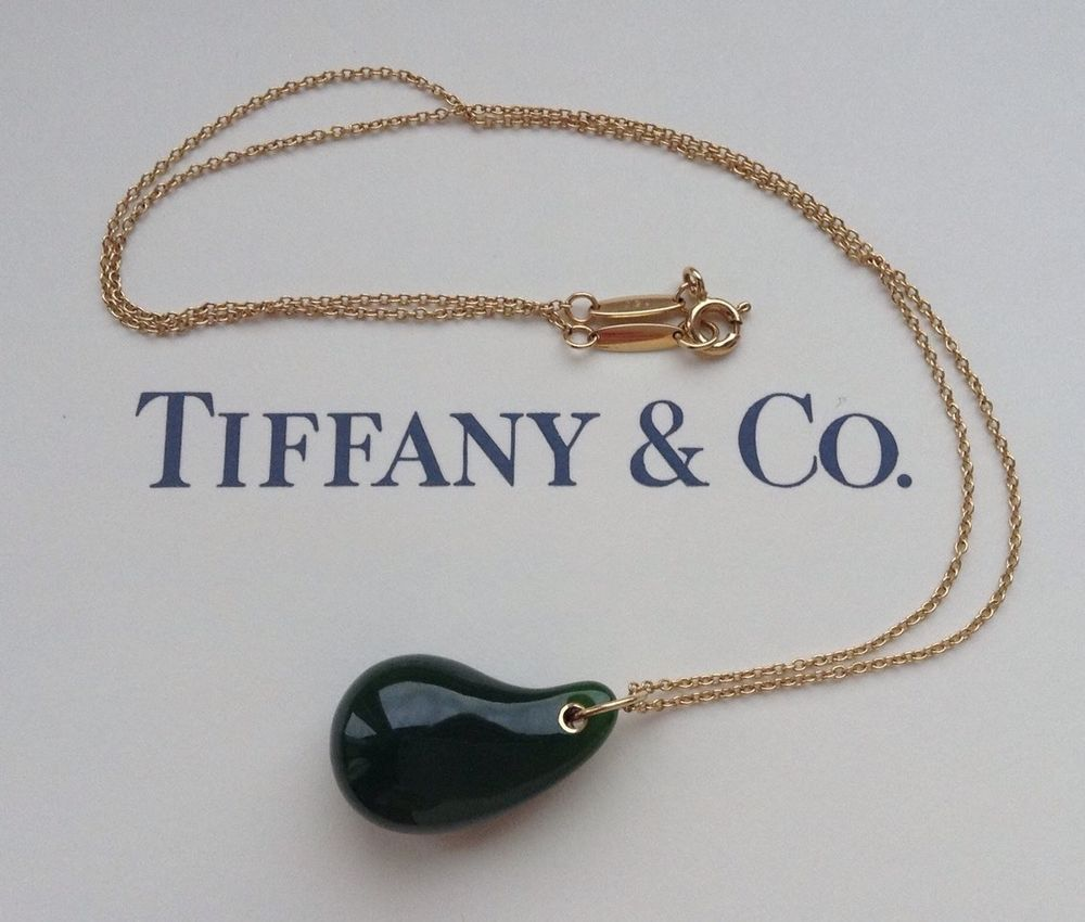 62c97815a 18ct 18k Gold Elsa Peretti JADE Teardrop Necklace *VERY RARE* #TiffanyCo
