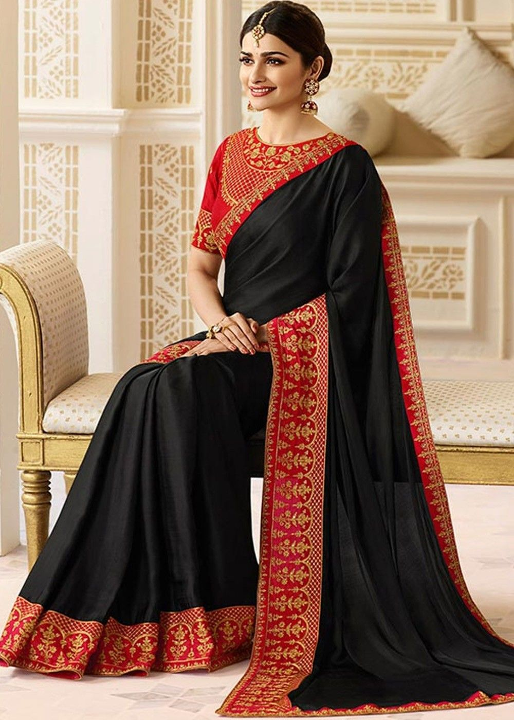 5e80d71a547286 Prachi Desai Black Georgette Satin Saree with Embroidered Blouse in ...