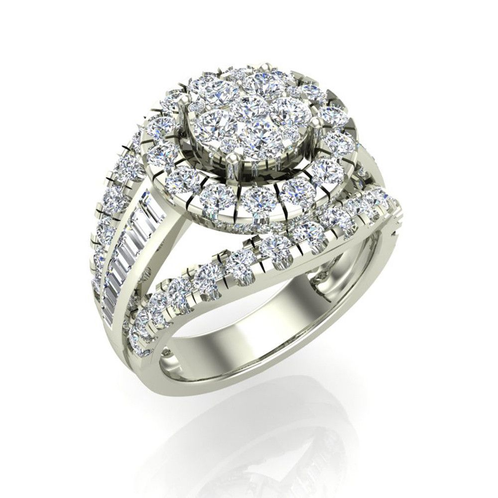 2 50 Ct Tw Cer Diamond Wedding Ring Set With Bands 18k Gold G Vs