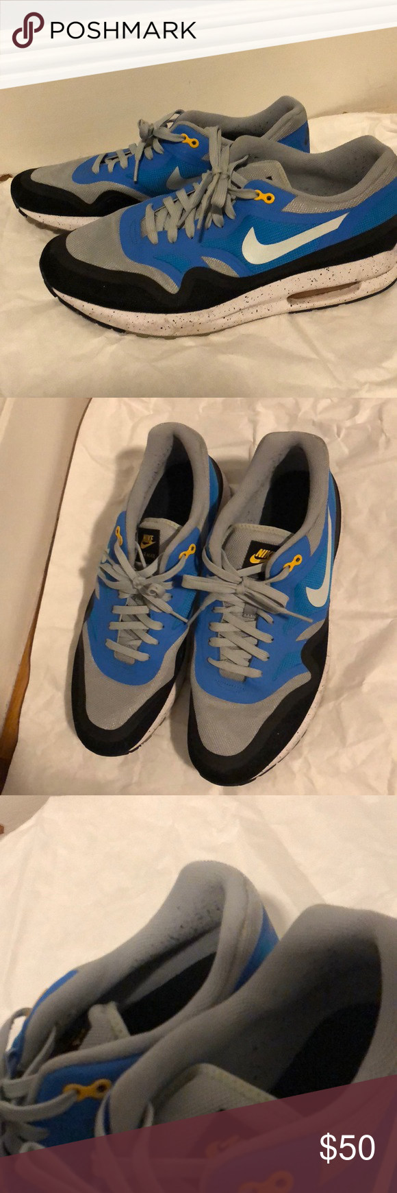 hot sale online bf232 f3149 Nike Air Max Lunar1 Running SilverWing 654469-001 Nike Air Max Lunar1  Running Shoes Silver Wing Blue Black SZ 11.5 ( 654469-001 ) Pre owned In  good ...