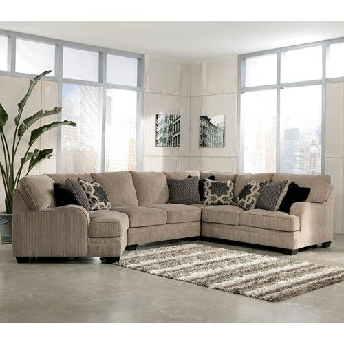 Signature Design By Ashley Furniture Katisha   Platinum 4 Piece Sectional  Sofa With Left Cuddler