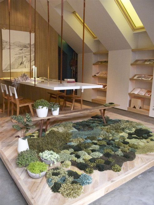Recycled Rug Evoking Pasturelands Greens Beautiful Home Office In Buenos  Aires
