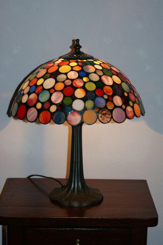 Colorida lámpara de Tiffany mosaico de colores por ArtGlassAnazie ...