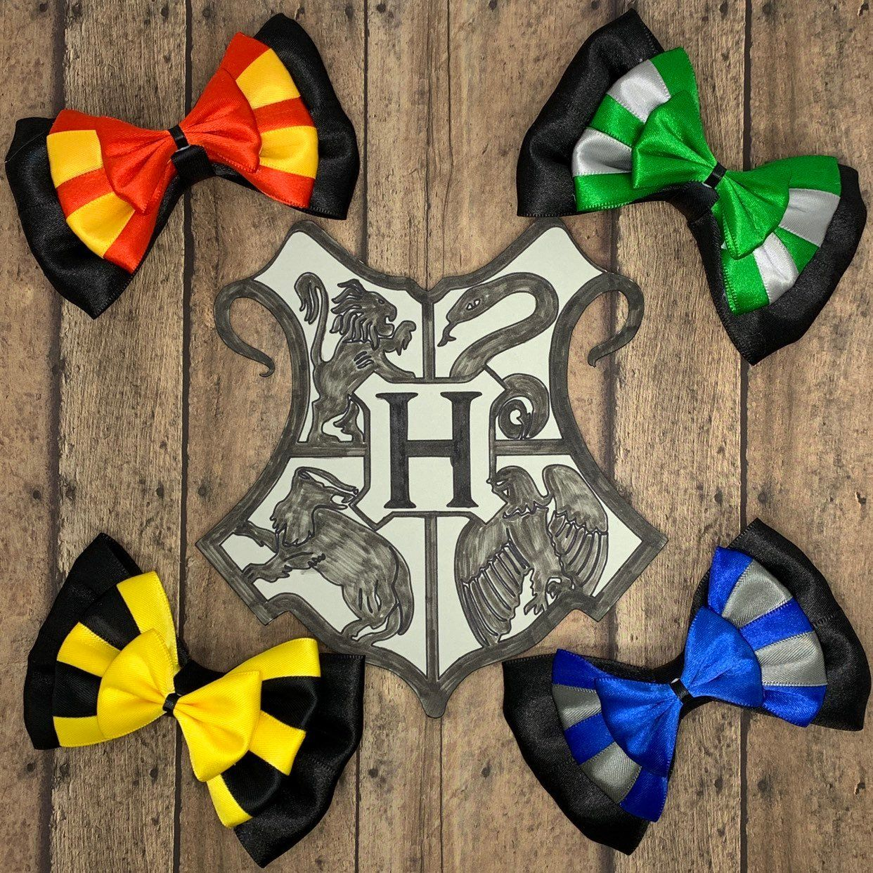 Harry Potter Hogwarts House Colors Inspired Hair Bows Hogwarts